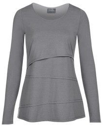 Asymmetrical tiered nursing top in long sleeves