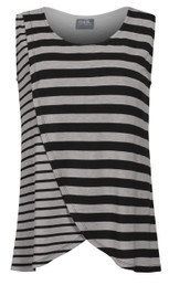 Contrast striped tulip-front nursing top