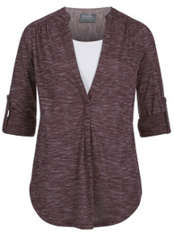 Roll-tab printed nursing and maternity tunic top in plum