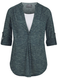 Roll-tab printed nursing and maternity tunic top in green