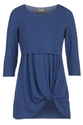 Twisted hem bamboo nursing tunic top - blue