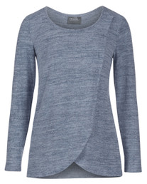 Sweater knit tulip-front nursing top in blue