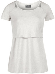 Cutout heathered nursing top