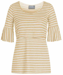 Striped bell sleeve nursing top in yellow