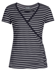 Crossover striped nursing top in navy