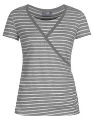 Crossover striped nursing top in gray