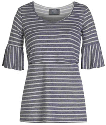 Striped bell sleeve nursing top in steel blue