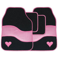 Pink & Black Velour Love Heart Carpet Car Floor Mats