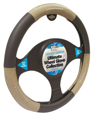 Genuine Leather Steering Wheel Cover Black & Beige - 37 > 38 cm Dia