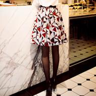 Elastic Waist Geometric Print Skirt
