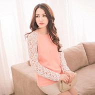 Crochet Lace Stitching Sleeve Top