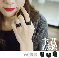 Black Open Ring Set
