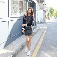 Contrast-Cuff Check Dress