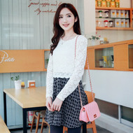 Lace Stitching Woolen Umbrella Dress