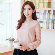 Delicate Lace Stitching Sleeve Shirt