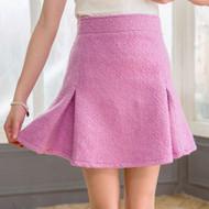 Loop Tweed Pleated Skirt