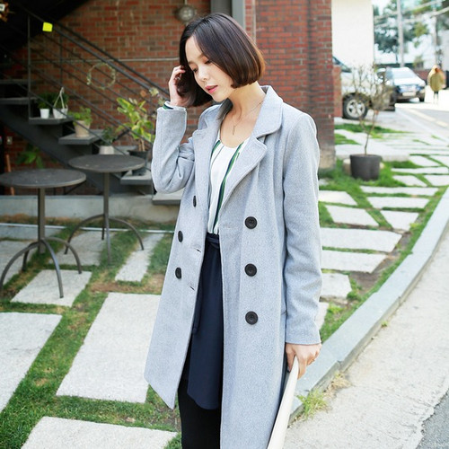 Women's Double Breasted Wool Blend Slim Fit Long Coat
