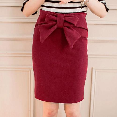 Bow Woolen Skirt