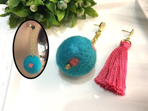 Ball & Tassel Earring Drops Set