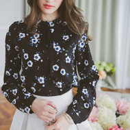 Lotus Leaf Collar Flower Printed Blouse