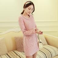 Faux Pearl-Embellished Tweed Dress
