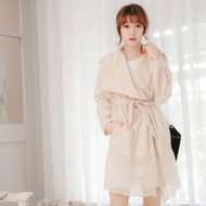 Lace Stitching Swing Coat