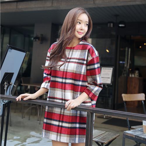 3/4-Sleeve Plaid Mini Shift Dress