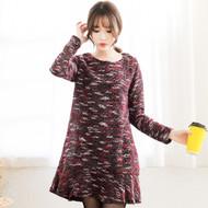 Asymmetrical Hem Lotus Leaf Knit Dress