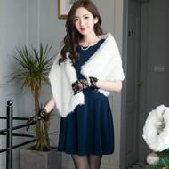 Sleeveless Waist Lace Stitching Dress