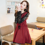Houndstooth Stitching Lace Dress