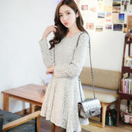 Long-Sleeved Wool Lace Dress
