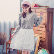 T Shirt Stitching Lace Dress