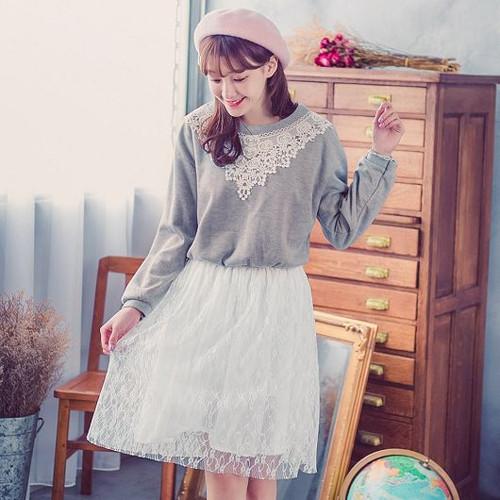 T Shirt Stitching Lace Dress