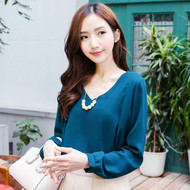Necklace Long Sleeve Blouse