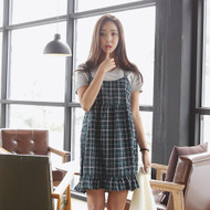 Spaghetti Strap Plaid Empire Dress
