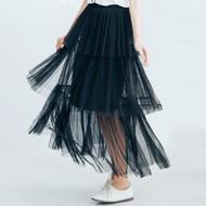 Gauze Maxi Layer Cake Pleated Skirt