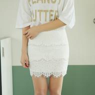 Lace Mini Pencil Skirt