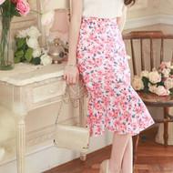 Printed Chiffon Fishtail Knee Skirt