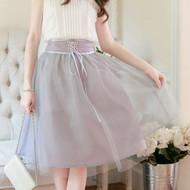 Cross Straps Knee Length Skirt