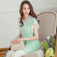 Chiffon Lace Trim Sleeve Shirt