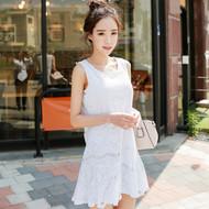 Eyelash Lace U-Neck Sleeveless Dress