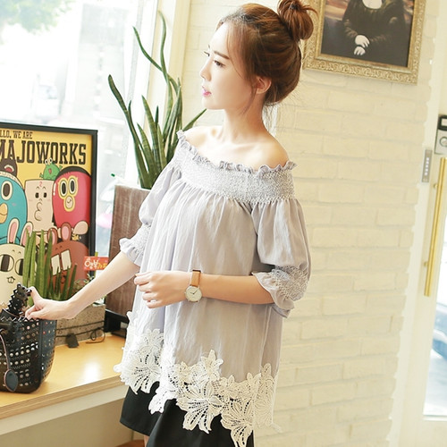 Off The Shoulder Embroidered Lace Hem Blouse