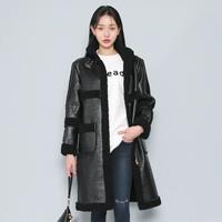 Fleece-Lined Faux Leather Coat