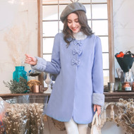 Bowknot Buckle Plush Cutt Coat