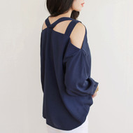 Navy V Neck Blouse