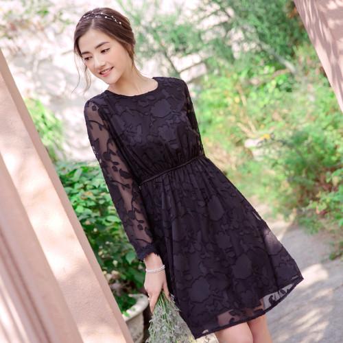 Romantic Flower Print Long Dress