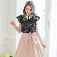 Lace Collar Love Print Blouse