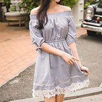 Off-Shoulder Striped Dress