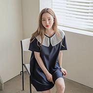 Rib-Collared T-Shirt Dress