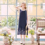 Cute Embroidered Shoulder Strap Maxi Dress